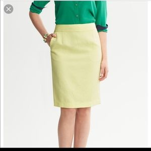 Banana Republic yellow Paisley pencil skirt